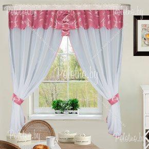 Готовые кухонные шторы Дебют розового цвета