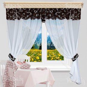 Кухонные шторы Дебют цвета горького шоколада