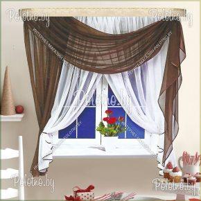 Готовые кухонные шторы Мелиса венге