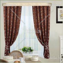 Кухонные шторы Нелли коричневый
