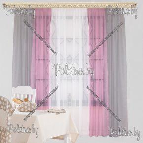 Занавески кухонные Радуга серо-розового цвета