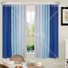 Шторы-тюль Радуга для кухни сине-голубого цвета