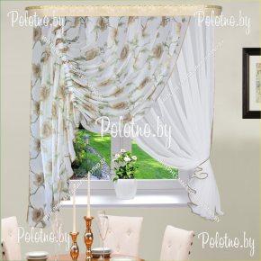 Кухонные шторы Виктория светло-коричневого цвета