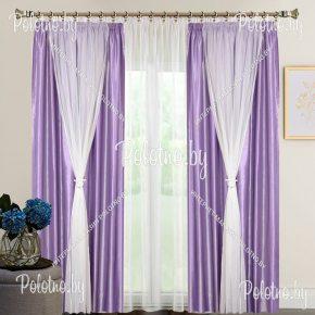 Готовые шторы из тафты Рио сиреневого цвета