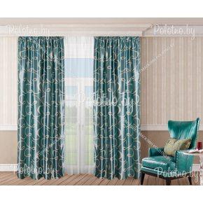 Комплект готовых штор в спальню и гостиную с бирюзовой волной