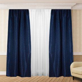 Комплект готовых штор в спальню и гостиную синего цвета
