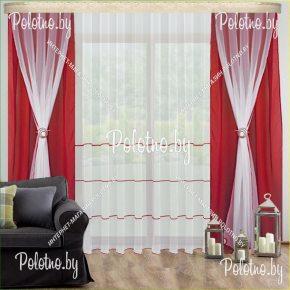 Комплект готовых штор в спальню и гостиную Танго — 2.5 красный