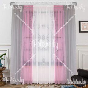 Готовый тюль Радуга серо-розового цвета