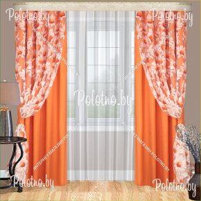 Комплект готовых портьер в спальню и гостиную Виола — 2.5 оранжевого цвета
