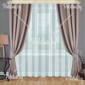Готовые шторы для спальни и гостиной цвета какао