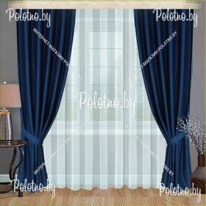 Плотные портьеры в спальню и гостиную Земфира синего цвета