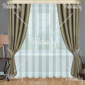 Комплект плотных портьер в спальню и гостиную Земфира бледно-оливкового цвета