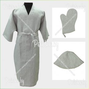 Льняной банный халат размер 56/58