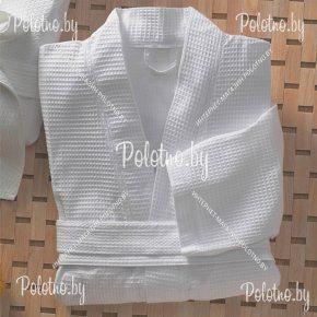 Хлопковый банный халат белого цвета