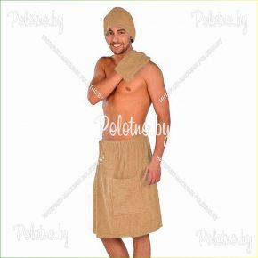 Махровый комплект для сауны мужской бежевого цвета