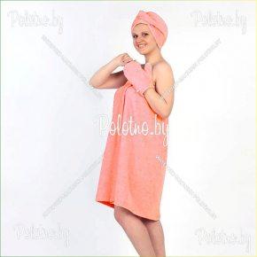Махровый комплект для сауны женский персикового цвета
