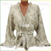 Банный льняной халат Ракушки 52/54 с рукавицей