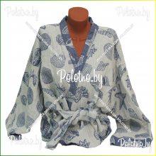 Банный льняной халат Ракушки синий