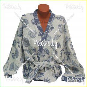 Льняной банный халат женский оршанского льнокомбината Ракушки размер