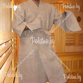 Льняной банный халат мужской в наборе размер 48/50
